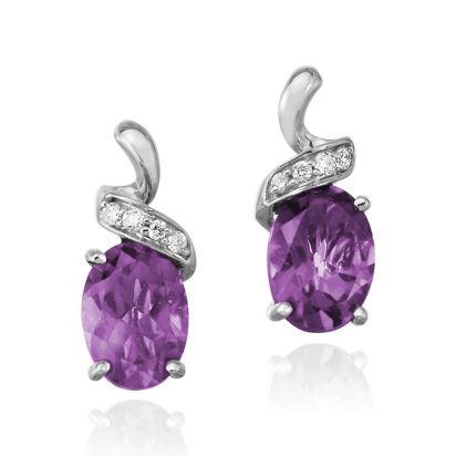 14K White Gold Amethyst/Diamond Earrings | EPF097A22WI