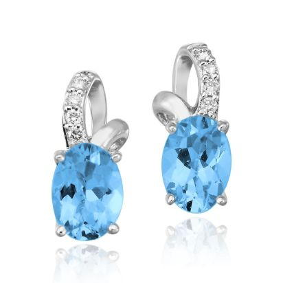 14K White Gold Blue Topaz/Diamond Earrings | EPF103B22WI