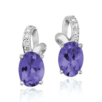 14K White Gold Peacock Tanzanite/Diamond Earrings | EPF103FT2WI