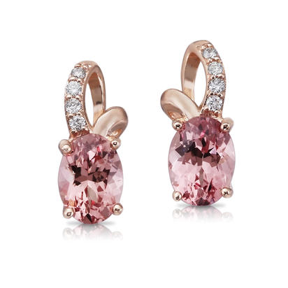 14K Rose Gold Lotus Garnet/Diamond Earrings | EPF103LG2RI