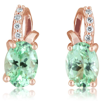 14K Rose Gold Mint Garnet/Diamond Earrings
