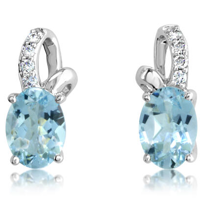 14K White Gold Aquamarine/Diamond Earrings | EPF103Q22WI