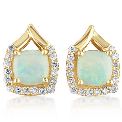 14K Yellow Gold Australian Opal/Diamond Earrings | EPF107N22CI