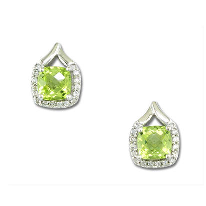 14K White Gold Peridot/Diamond Earrings | EPF107TC2WI