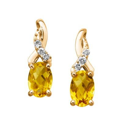 14K Yellow Gold Citrine/Diamond Earrings | EPF109CC2CI