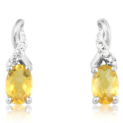 14K White Gold Citrine/Diamond Earrings | EPF109CC2WI