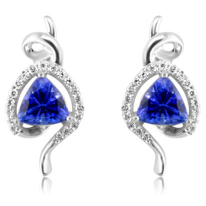 14K White Gold Tanzanite/Diamond Earrings | EPF136J22WI