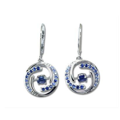 14K White Gold Sapphire/Graduated Blue Sapphire Earrings | EPF146S1XWI