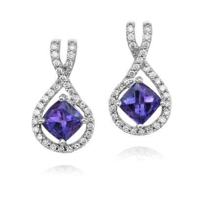 14K White Gold Tanzanite/Diamond Earrings | EPF153JK2WI