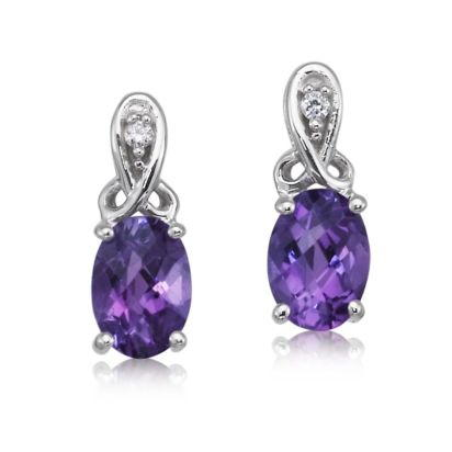 14K White Gold Amethyst/Diamond Earrings | EPF158AC2W