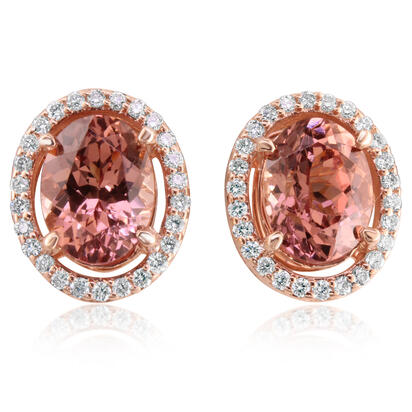 14K Rose Gold Lotus Garnet/Diamond Earrings | EPF161LG1RI