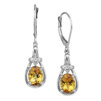 14K White Gold Checkerboard Citrine/Diamond Earrings | EPF163CC2W