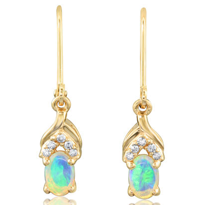 14K Yellow Gold Australian Opal/Diamond Earrings | EPF165N03C