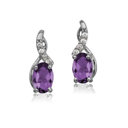 14K White Gold Amethyst/Diamond Earrings | EPF170A22W
