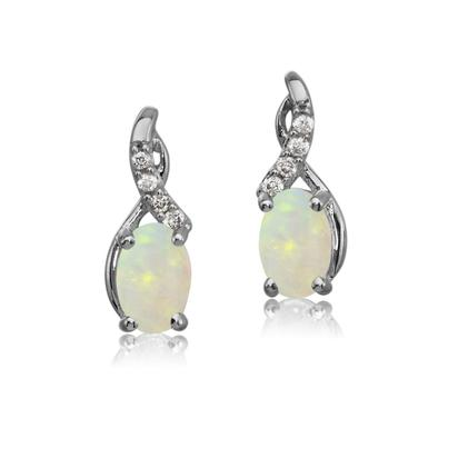 14K White Gold Australian Opal/Diamond Earrings | EPF170N12W