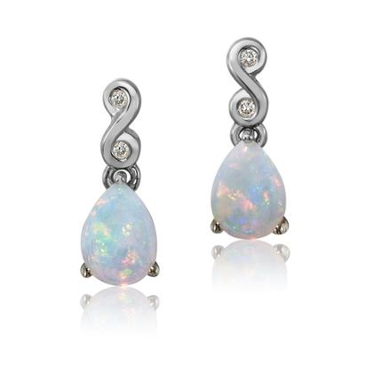 14K White Gold Natural Opal/Diamond Earrings | EPF171N22W