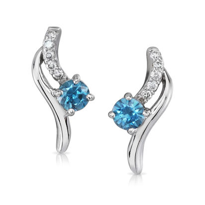 14K White Gold Blue Zircon/Diamond Earrings | EPF173BZ2W