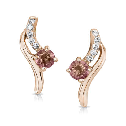 14K Gold Rose Lotus Garnet/Diamond Earrings | EPF173LG2R