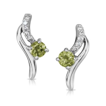 14K White Gold Peridot/Diamond Earrings | EPF173T22W