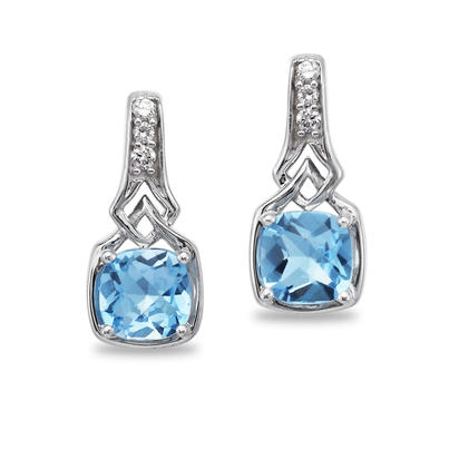 14K White Gold Blue Topaz Cushion Checkerboard/Diamond Earrings | EPF175BC2W