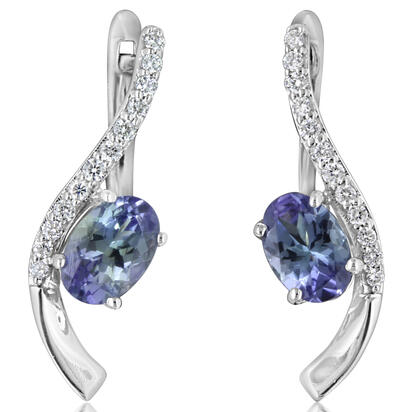 14K White Gold Peacock Tanzanite/Diamond Earrings | EPF184FT2WI