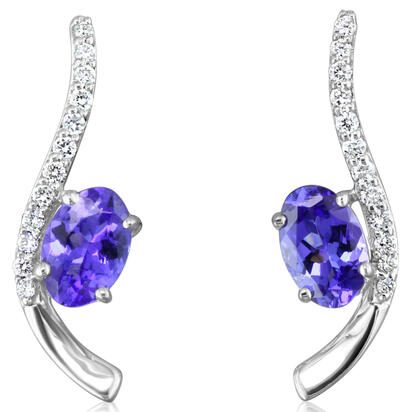 14K White Gold Tanzanite/Diamond Earrings | EPF184J22WI