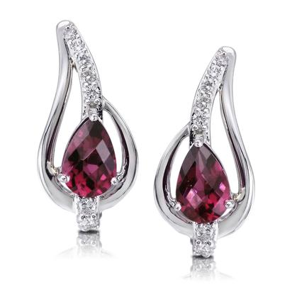 14K White Gold Rhodolite/Diamond Earrings | EPF185LC2WI