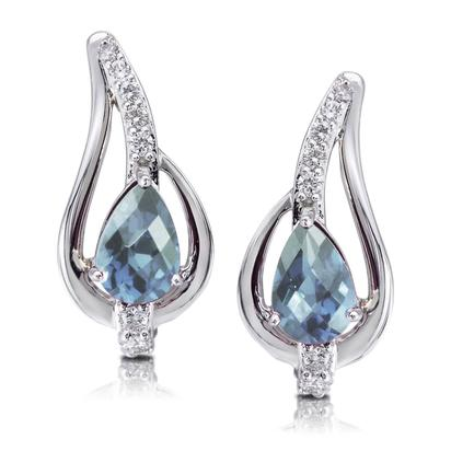 14K White Gold Aquamarine/Diamond Earrings | EPF185Q22WI