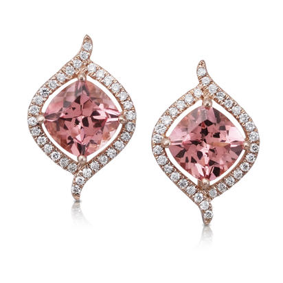14K Rose Gold Lotus Garnet/Diamond Earrings | EPF186LG2RI