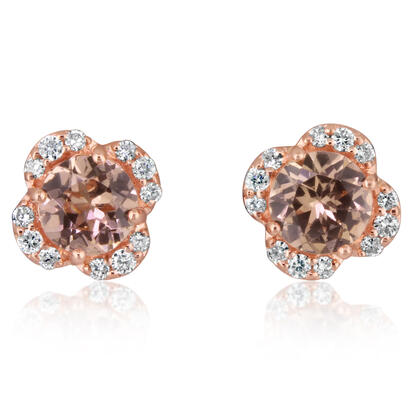 14K Rose Gold Lotus Garnet/Diamond Earrings | EPF192LG2RI