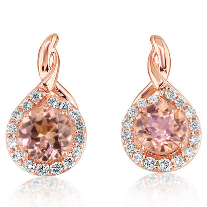14K Rose Gold Lotus Garnet/Diamond Earrings | EPF194LG2RI
