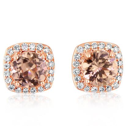 14K Rose Gold Lotus Garnet/Diamond Earrings | EPF195LG2RI