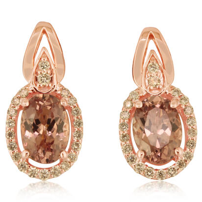 14K Rose Gold Lotus Garnet/Diamond Earrings | EPF197LG2RI