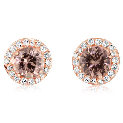 14K Rose Gold Lotus Garnet/Diamond Earrings | EPF198LG2RI