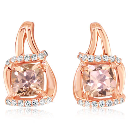 14K Rose Gold Lotus Garnet/Diamond Earrings | EPF199LG2RI