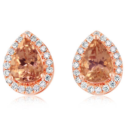14K Rose Gold Lotus Garnet/Diamond Earrings | EPF200LG2RI