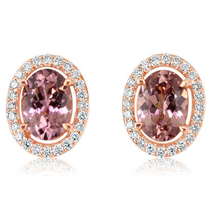 14K Rose Gold Lotus Garnet/Diamond Earrings | EPF201LG1RI