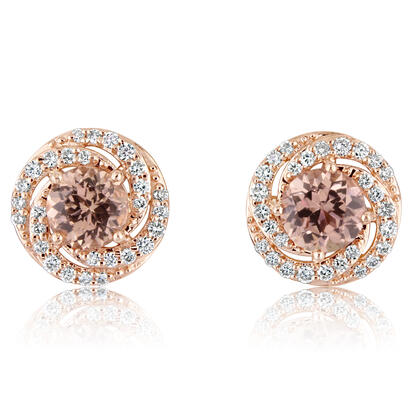 14K Rose Gold Lotus Garnet/Diamond Earrings | EPF204LG1RI