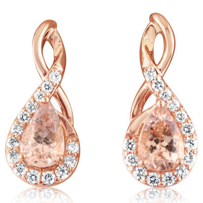 14K Rose Gold Lotus Garnet/Diamond Earrings | EPF218LG1RI