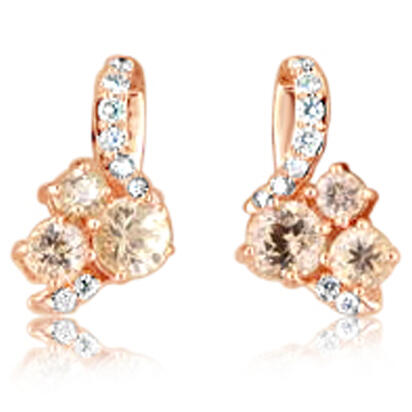 14K Rose Gold Lotus Garnet/Diamond Earrings | EPF219LG1RI