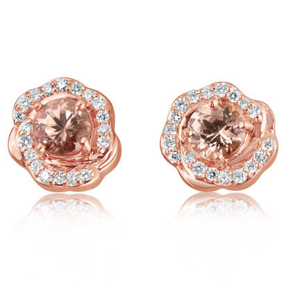 14K Rose Gold Lotus Garnet/Diamond Earrings | EPF220LG1RI