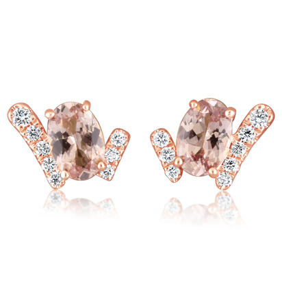 14K Rose Gold Lotus Garnet/Diamond Earrings | EPF221LG1RI