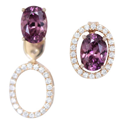 14K Rose Gold 5x7 Oval Purple Garnet/Diamond Earrings Set | EPF224GP2RI-SET