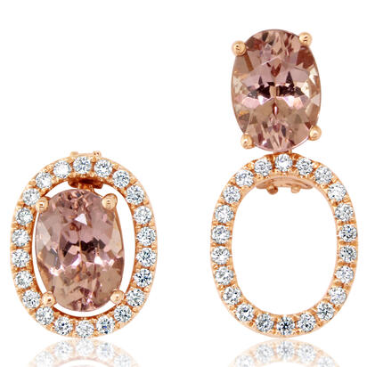 14K Rose Gold 5x7 Oval Lotus Garnet/Diamond Earrings Set | EPF224LG2RI-SET