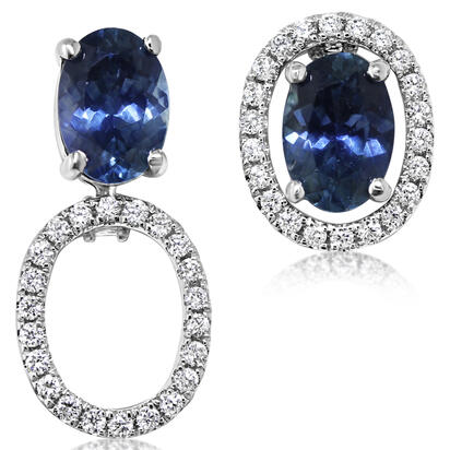 14K White Gold 5x7 Oval Montana Sapphire/Diamond Earrings Set | EPF224MS2WI-SET