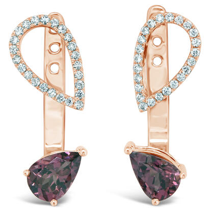 14K Rose Gold Rhodolite Garnet/Diamond Earrings | EPF226L22RI
