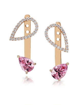 14K Rose Gold Lotus Garnet/Diamond Earrings | EPF226LG2RI