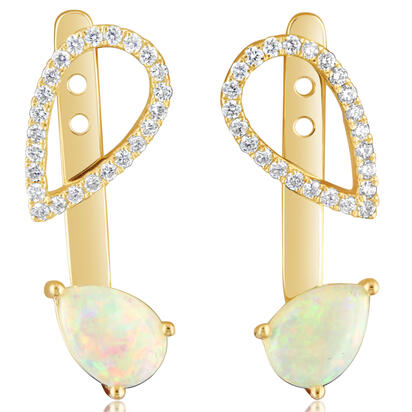 14K Yellow Gold Australian Opal/Diamond Earrings | EPF226N12CI