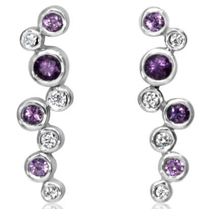 14K White Gold Purple Garnet/Diamond Earrings | EPF232GP2WI