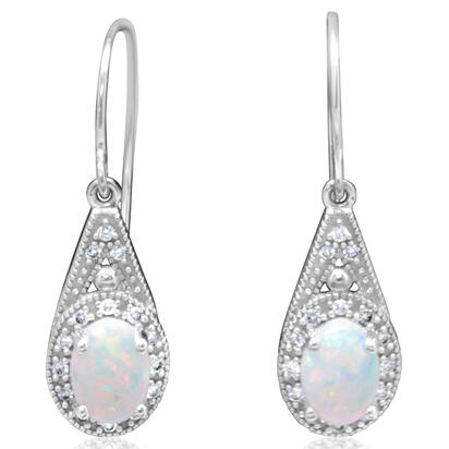 14K White Gold Australian Opal/Diamond Earrings | EPF233N12W